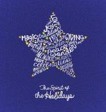 圣诞节与手写的词的贺卡在星形状 皇族释放例证