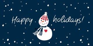 圣诞节与手拉的逗人喜爱的雪人的贺卡 节日快乐 背景蓝色黑暗的无限 图库摄影