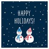 圣诞节与手拉的逗人喜爱的雪人的贺卡 节日快乐 库存图片