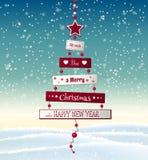 圣诞节与抽象树的贺卡与文本 库存例证