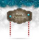 圣诞节与木黑板的冬天背景 免版税图库摄影