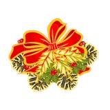 圣诞节与杉木锥体传染媒介的装饰弓 免版税库存图片