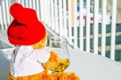 圣诞节与杯的玩具熊唯一麦芽威士忌,标志o 免版税库存照片