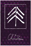 圣诞节与树和手写的文本的贺卡 库存照片