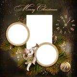 圣诞节与框架的贺卡的系列 免版税库存照片