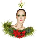 圣诞节与槲寄生、一品红和Holid的时尚幻想 免版税库存照片