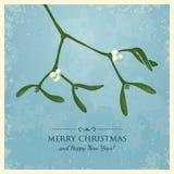 圣诞节与槲寄生的贺卡 库存照片