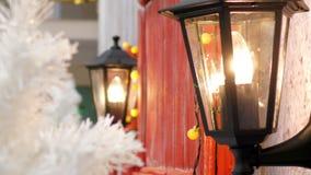 圣诞节与灯笼轻的串的家装饰 股票录像