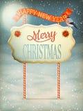 圣诞节与牌的葡萄酒卡片 10 eps 免版税库存照片