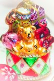 圣诞节与玩具熊的玩具特写镜头 免版税图库摄影