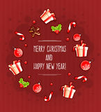 圣诞节与礼物和甜点的贺卡由云彩 库存图片