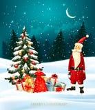 圣诞节与礼物盒和圣诞老人的假日背景 免版税库存照片