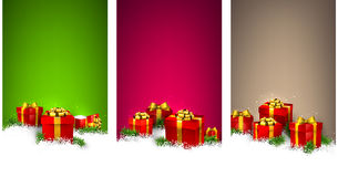 圣诞节与礼物盒的条纹横幅 免版税图库摄影