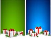 圣诞节与礼物盒的条纹横幅 免版税库存图片