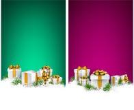 圣诞节与礼物盒的条纹横幅 免版税库存照片