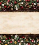 圣诞节与空白的纸卷的杉树装饰 免版税库存照片