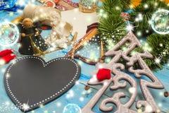圣诞节与空白的贺卡 图库摄影