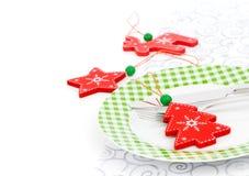 圣诞节与空间的桌设置文本的 免版税库存图片