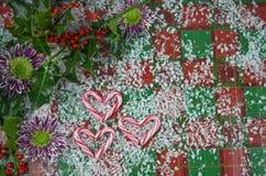 圣诞节与红色条纹棒棒糖的摄影图象在心脏与真正的霍莉和红色莓果的爱形状洒与雪 库存图片