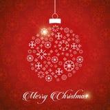 圣诞节与红色背景雪花和chri的贺卡 库存例证