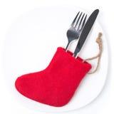 圣诞节与红色起动的桌设置,在白色 库存照片