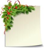 圣诞节与纸张的霍莉装饰 免版税库存图片