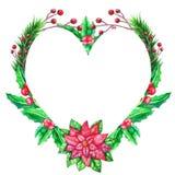 圣诞节与色的叶子的水彩模板 皇族释放例证
