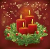 圣诞节与花圈和蜡烛的出现背景 免版税库存图片