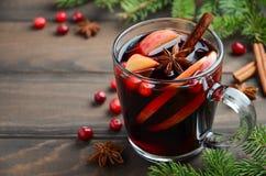 圣诞节与苹果计算机和蔓越桔的被仔细考虑的酒 用冷杉分支、蔓越桔和香料装饰的假日概念 图库摄影