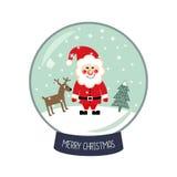 圣诞节与落的雪、圣诞老人, Xmas树和鹿例证的雪地球 库存图片