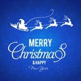 圣诞节与蓝色印刷术的样式背景 皇族释放例证