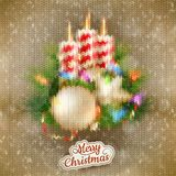 圣诞节与蜡烛的被编织的装饰 10 eps 免版税库存图片