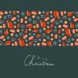 圣诞节与装饰圣诞节元素和手写的文本的贺卡 免版税库存照片