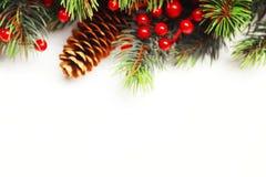 圣诞节与装饰的杉树 免版税图库摄影