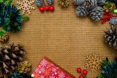 圣诞节与装饰的背景t的静物画和空间 免版税库存照片
