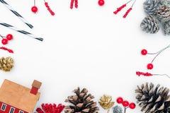 圣诞节与装饰的背景t的静物画和空间 库存照片