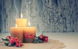 圣诞节与装饰,文本空间的出现蜡烛 免版税库存图片