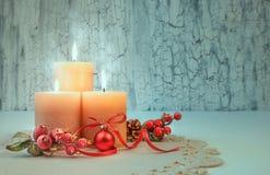 圣诞节与装饰,文本空间的出现蜡烛 库存照片