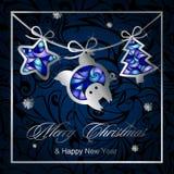 圣诞节与诗歌选的贺卡,圣诞树银色图,星和猪 皇族释放例证