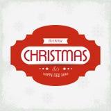 圣诞节与轻的背景红色文本的贺卡与sno 库存例证