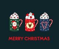 圣诞节与逗人喜爱的热的杯子的贺卡 图库摄影