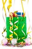 圣诞节与金黄欢乐丝带和xmas球的礼物袋子 库存照片