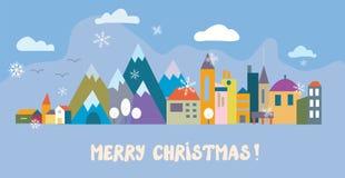 圣诞节与镇的贺卡 库存例证