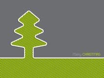圣诞节与镶边圣诞树的贺卡 免版税库存图片