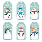 圣诞节与雪人,在丝毫的被隔绝的项目的标签汇集 库存例证