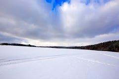 圣诞节与雪的冬天背景 库存照片