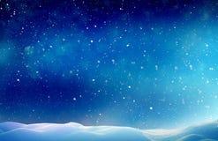 圣诞节与雪的冬天风景 图库摄影