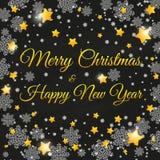 圣诞节与雪花的白垩字法 库存图片