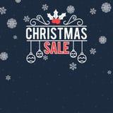 圣诞节与雪花的销售横幅 库存例证