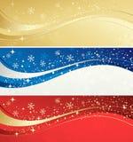 圣诞节与雪花的颜色横幅 向量例证